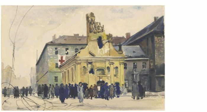 amberg-jozsef-a-rokus-kapolna-es-korhaz-budapest-1956-november-11-akvarell-mnm-1